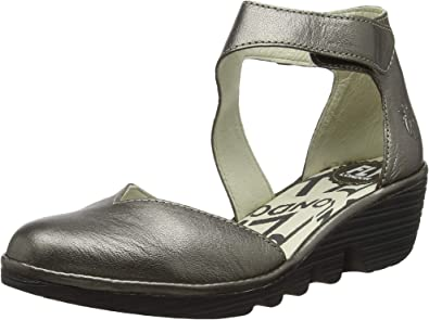 Womens Fly Plan Cupido Black Cupido Leather  Ankle Strap Sandals Size