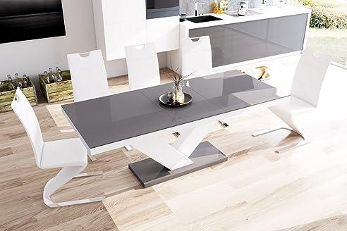 Esstisch ausziehbar grau  Esstisch VICTORIA Tisch ausziehbar in Super Hochglanz Acryl (weiß ...