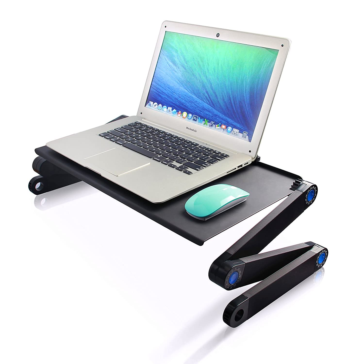Tree.NB Portable Adjustable Aluminum Laptop Desk/Stand/Table Vented w/CPU Fans Mouse Pad Side Mount-Notebook-Macbook-Light Weight Ergonomic TV Bed Lap Tray Stand Up/Sitting-Black
