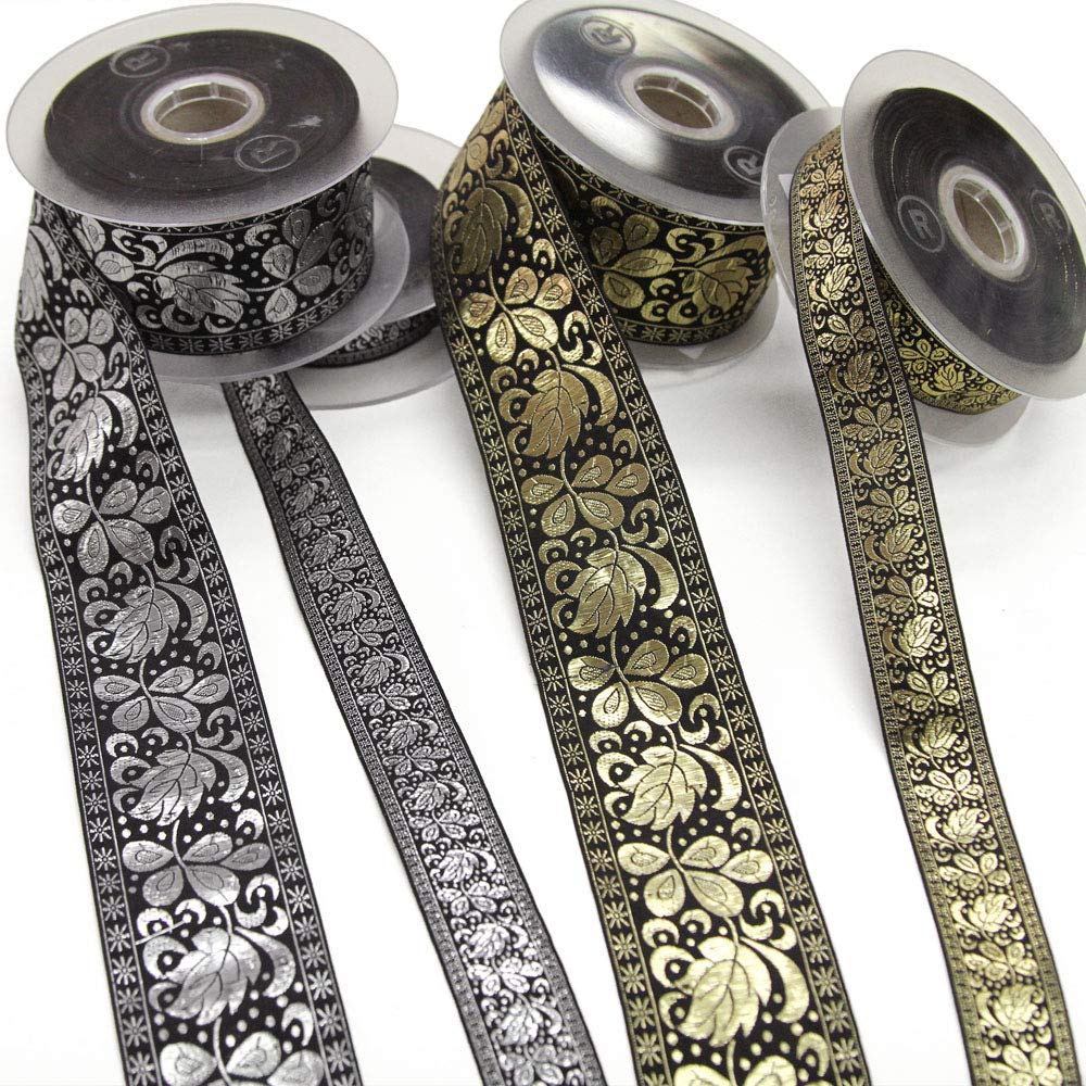 22 Yard Roll of ORIA Black and Silver Metallic Lamé Floral Jacquard Ribbon, 25mm, Made in Italy by Bias Bespoke (Image #4)