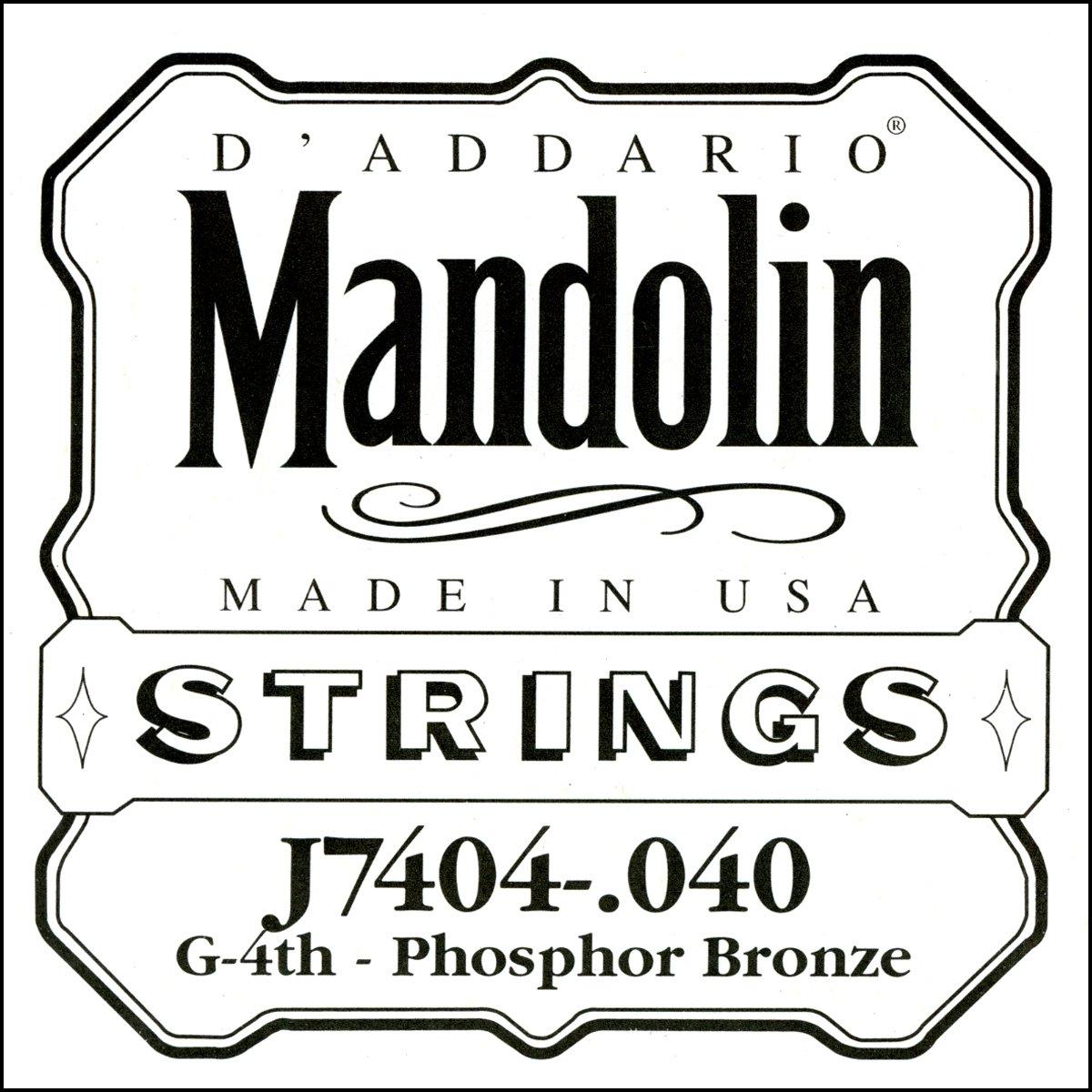 D'Addario J7404 Phosphor Bronze Mandolin Single String, Fourth String, .040 D'Addario