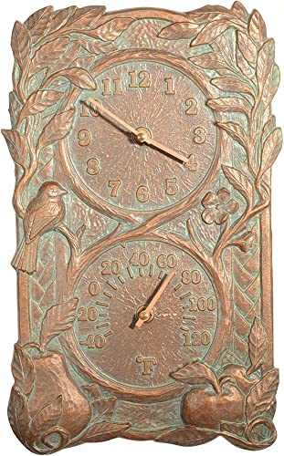Whitehall Products Fruit and Bird Combo Clock, French Bronze