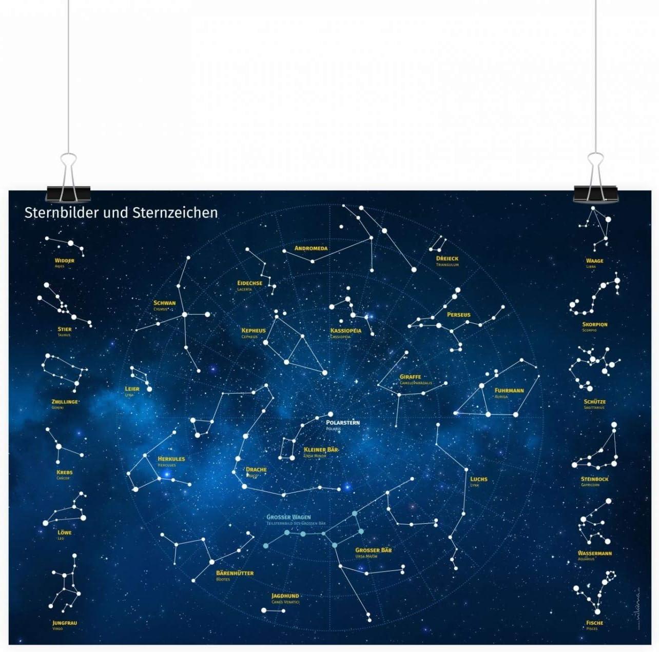 Wanddeko Kinderzimmer Sternenhimmel Deutsch und Latein Kinder Lernposter Sternbilder und Sternzeichen Gr/ö/ße DIN A1-841 x 594 mm