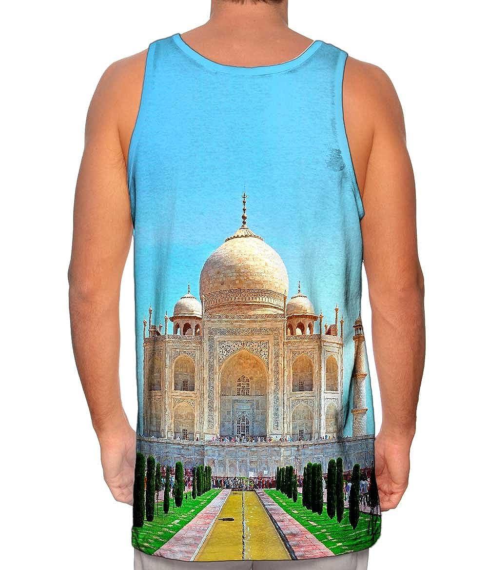 Mens Tank Top Sunny Day Taj Mahal India Tshirt Yizzam