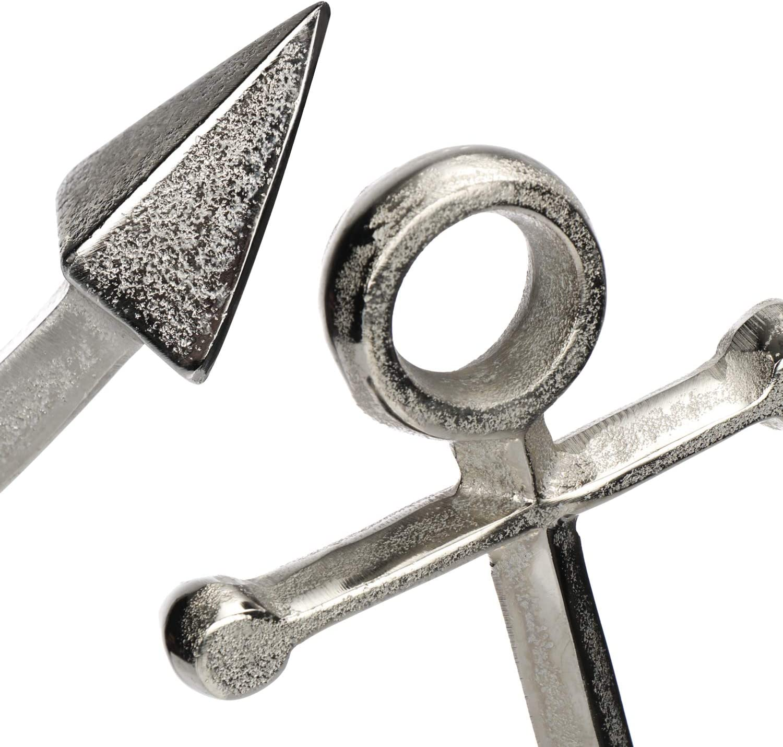 Figura Decorativa mar/ítima de Aluminio Escultura de Metal para pararse com-four/® Ancla Decorativa en un Estilo Moderno 40,5 x 12,5 x 29 cm
