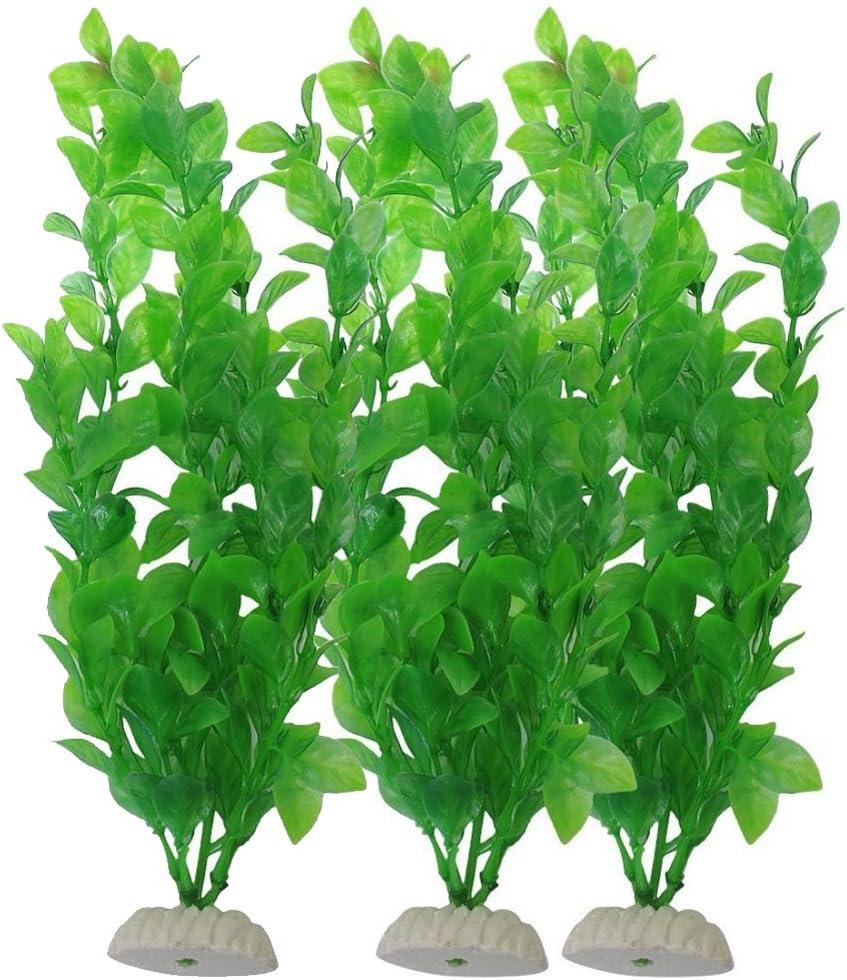 YOY Aquarium Decor Fish Tank Decoration Ornament Artificial Plastic Plant/Grass Set of 3,Green