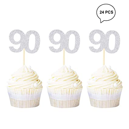 Sensational Newqueen 24Pcs 90Th Birthday Cupcake Toppers Gold Glitter Number Personalised Birthday Cards Veneteletsinfo