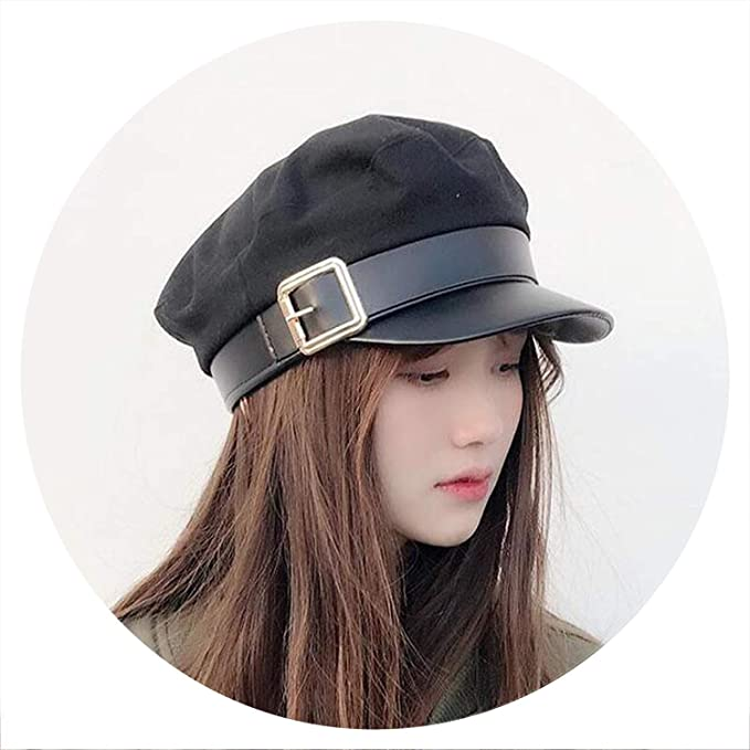f6f28ee58 Amazon.com: Women Black Military Hats Autumn Winter Fashion Wool Pu ...