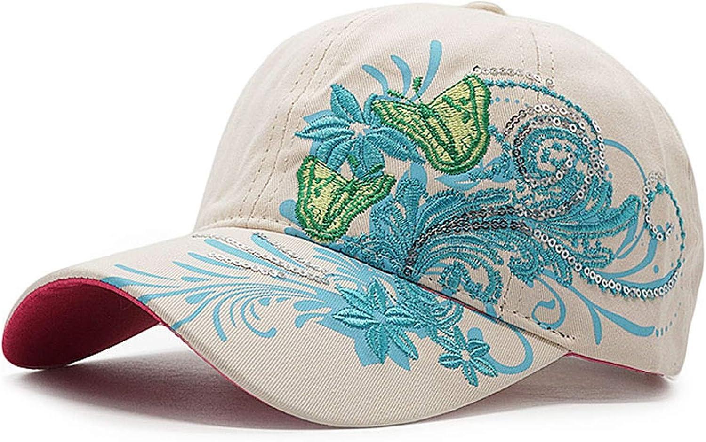 Women Fashion Flower Butterfly Baseball Cap Embroidery Cotton Hat Casquette Summer Casual Hip Hop Cap
