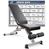 RitFit Adjustable / Foldable Utility Bench for Home Gym, Weightlifting and Strength Training - Bonus Workout Poster with 36 Total Body Exercises (Upgraded Version)