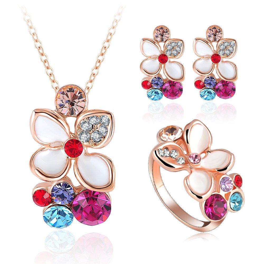 Evertrust (TM)2016 New Wedding Enamel Flower Jewelry Set 18K Rose Gold Plated Top Quality Pendant/Earring/Ring Set For Women ST0015-A-2