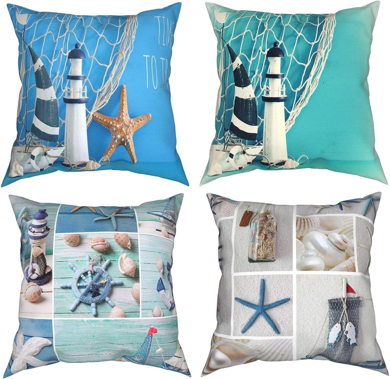 Throw Pillow Covers 18X18 Inch, Nautical Theme Sailboat Lighthouse Seashells Fishnet Decor Cushion Cover Pillowcase Set of 4