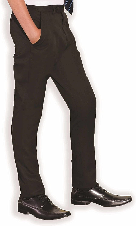 Long /& X-Long Leg Short Regular INTEGRITI Slim Fitting Skinny Boys Black Charcoal Grey Navy Slim Leg Adjustable Waist School Trousers Pants 24-42