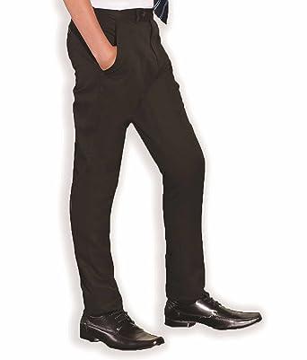 926ca108deaf INTEGRITI Slim Fitting Skinny Boys Black Charcoal Grey Navy Slim Leg  Adjustable Waist School Trousers Pants