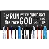 "RunRilla Let Us Run with Endurance the Race God Has Set Before Us Running Medal Bib Display, 20"" W, Black, 12 Hooks"