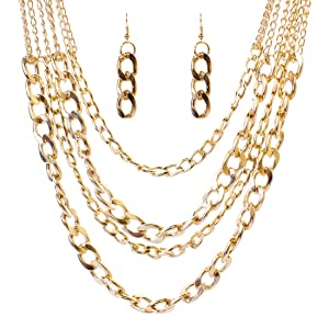 Girl Era Personality 4 Gold Plated Chain Created Pendant Charming Necklace & Dangle Earrings Jewelry Set