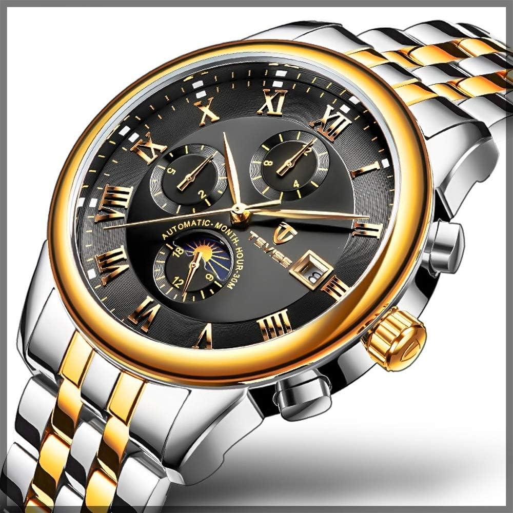 Guarda Orologio da uomo Orologio meccanico multifunzionale a carica automatica con orologio da polso in acciaio inossidabile Orologio da polso 02 Nero-gratuito