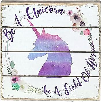 Amazon.com: Sincere Surroundings Unicorns - Cartel de madera ...