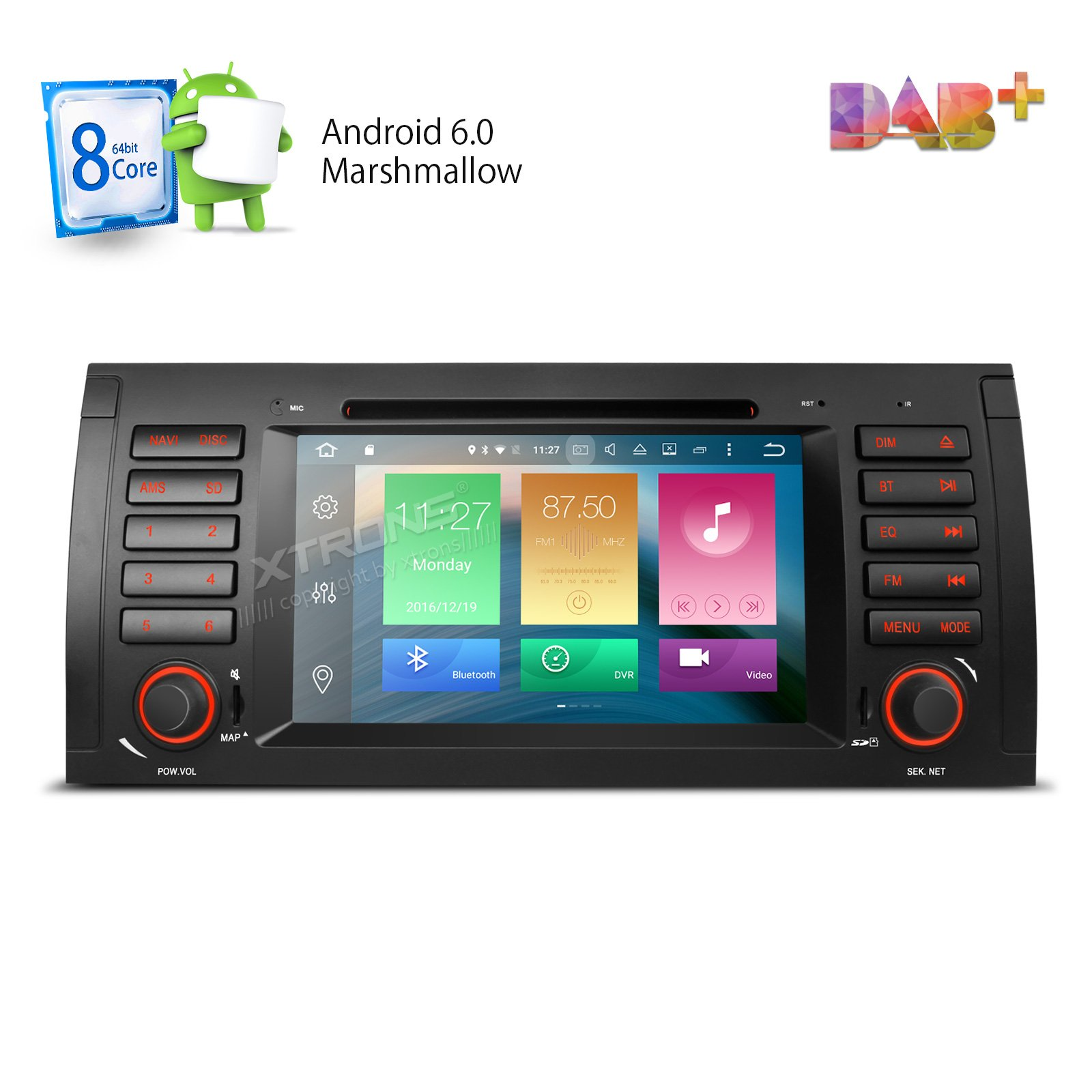 XTRONS Octa-Core 64Bit 2G RAM 32GB ROM 7 Inch Capacitive Touch Screen Car Stereo Radio DVD Player GPS CANbus Screen Mirroring Function OBD2 Tire Pressure Monitoring for BMW E53 X5
