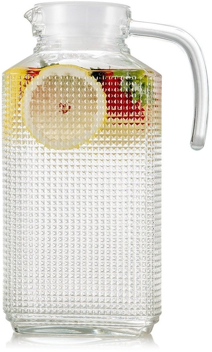 Circleware 06571 Carafe Large 8 Cup Everyday Water Pitcher with Lid and Handle, Beverage Dispenser Glassware for Beer Glasses, Wine, Liquor and Kitchen Drinking Gifts, 63.4, Frigo Textured by Circleware