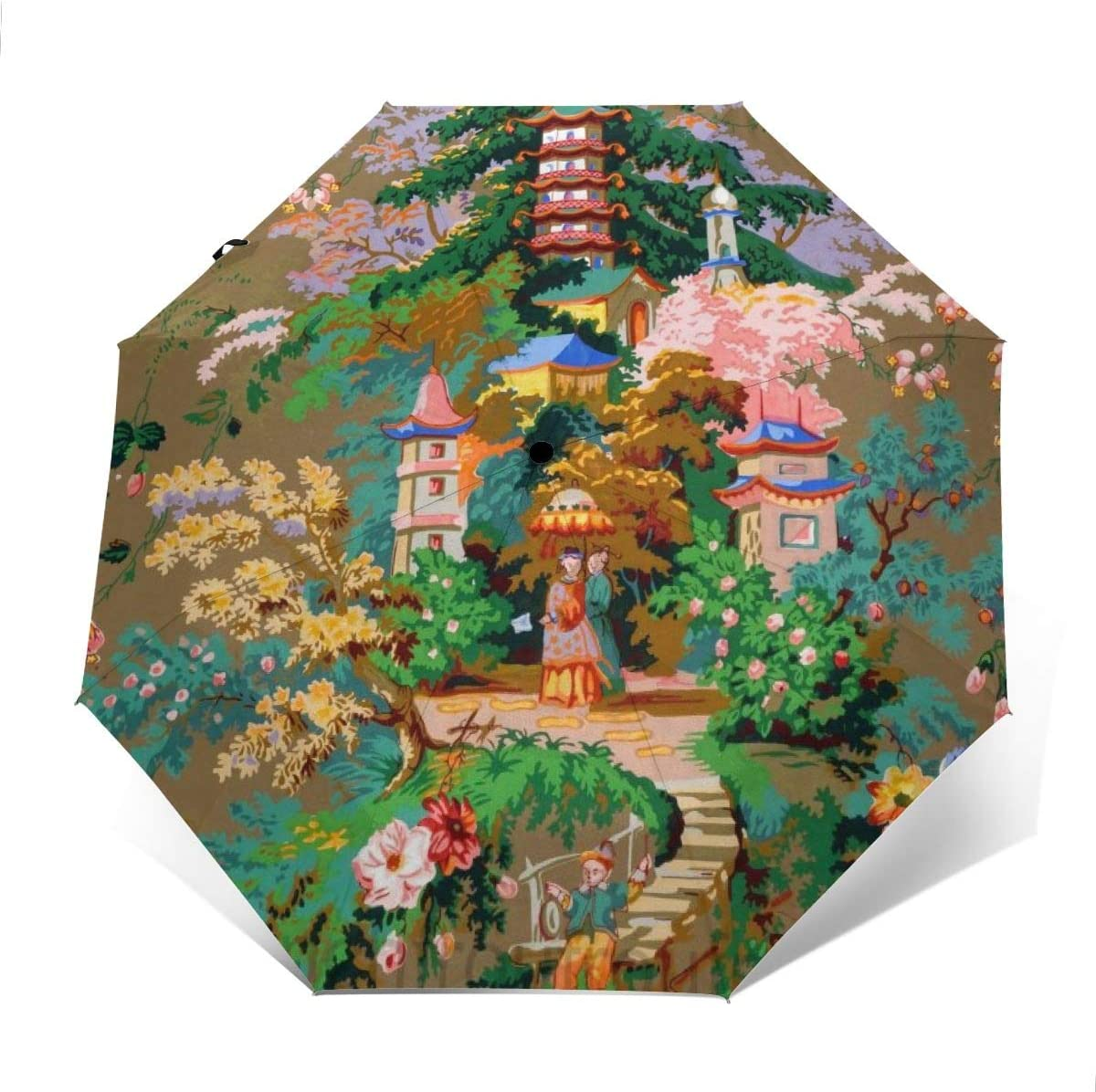 Chinoiserie Pagoda Couples Flowers Sun Umbrella Compact Folding Travel Umbrella Auto Open And Close For Windproof Rainproof UV Protection Parasol