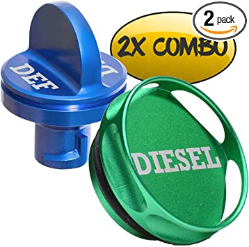 Combo Pack Billet Aluminum Diesel Fuel Cap Accessories and Blue DEF Cap for Dodge Ram Truck 1500 2500 3500 2013-2017 Magnetic Diesel Fuel Cap for Dodge