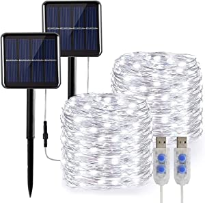 White String Lights Solar/USB Powered,2-Pack 49Ft 130 LED Twinkle Fairy Lights with 8 Lighting Modes & Waterproof Function for Outdoor Garden & Indoor Room Decor,Dusk to Dawn Auto ON/Off