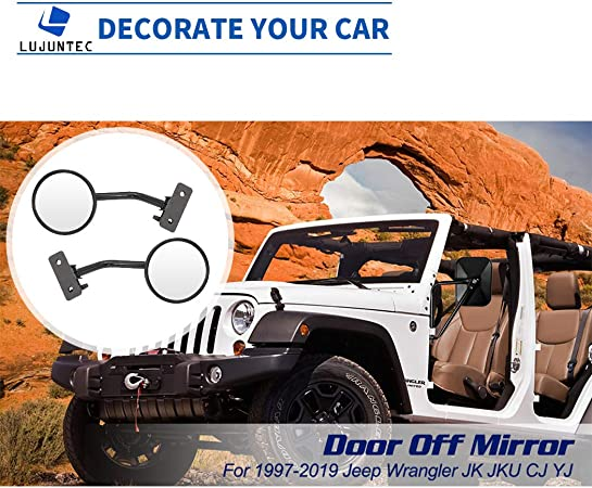 LUJUNTEC Driver Side And Passenger Side View Mirrors Fits For 1997-2017 Jeep Wrangler JKU JK CJ YJ TJ Round Mirror Non-heated Black