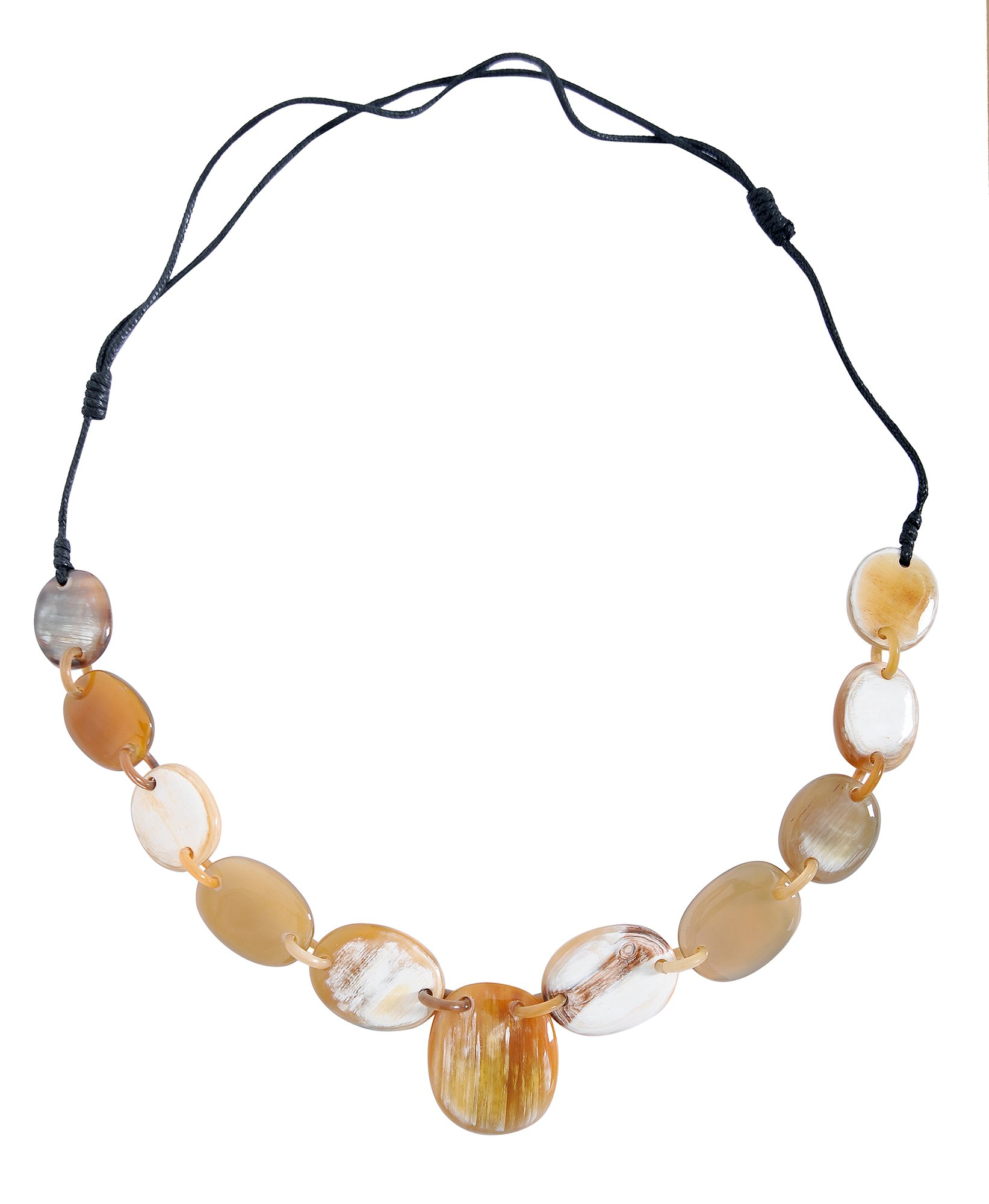 MaryCrafts Tribal Bib Style Organic Buffalo Horn Necklace Adjustable Natural Color