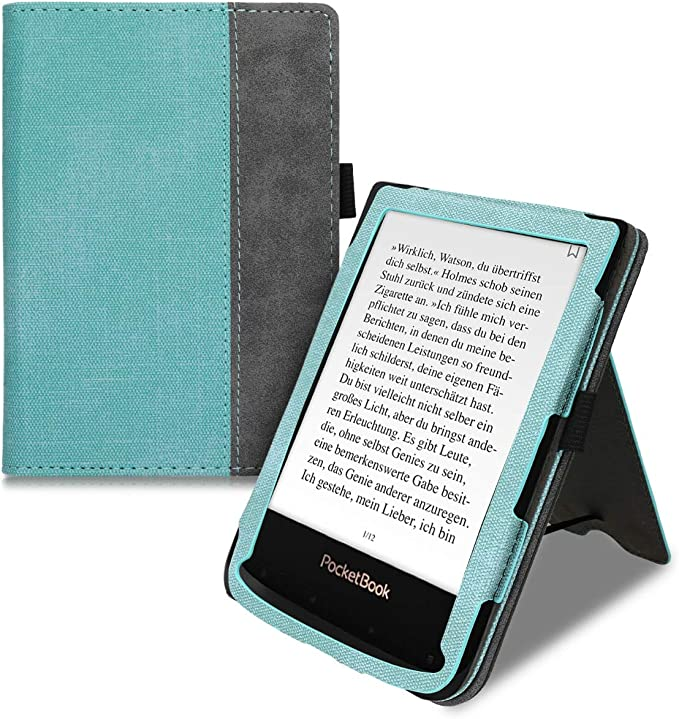kwmobile Case for Pocketbook Touch Lux 4//Basic Lux 2//Touch HD 3 PU Nubuck Leather Protective e-Reader Flip Case Cover Butterfly Tendril Grey