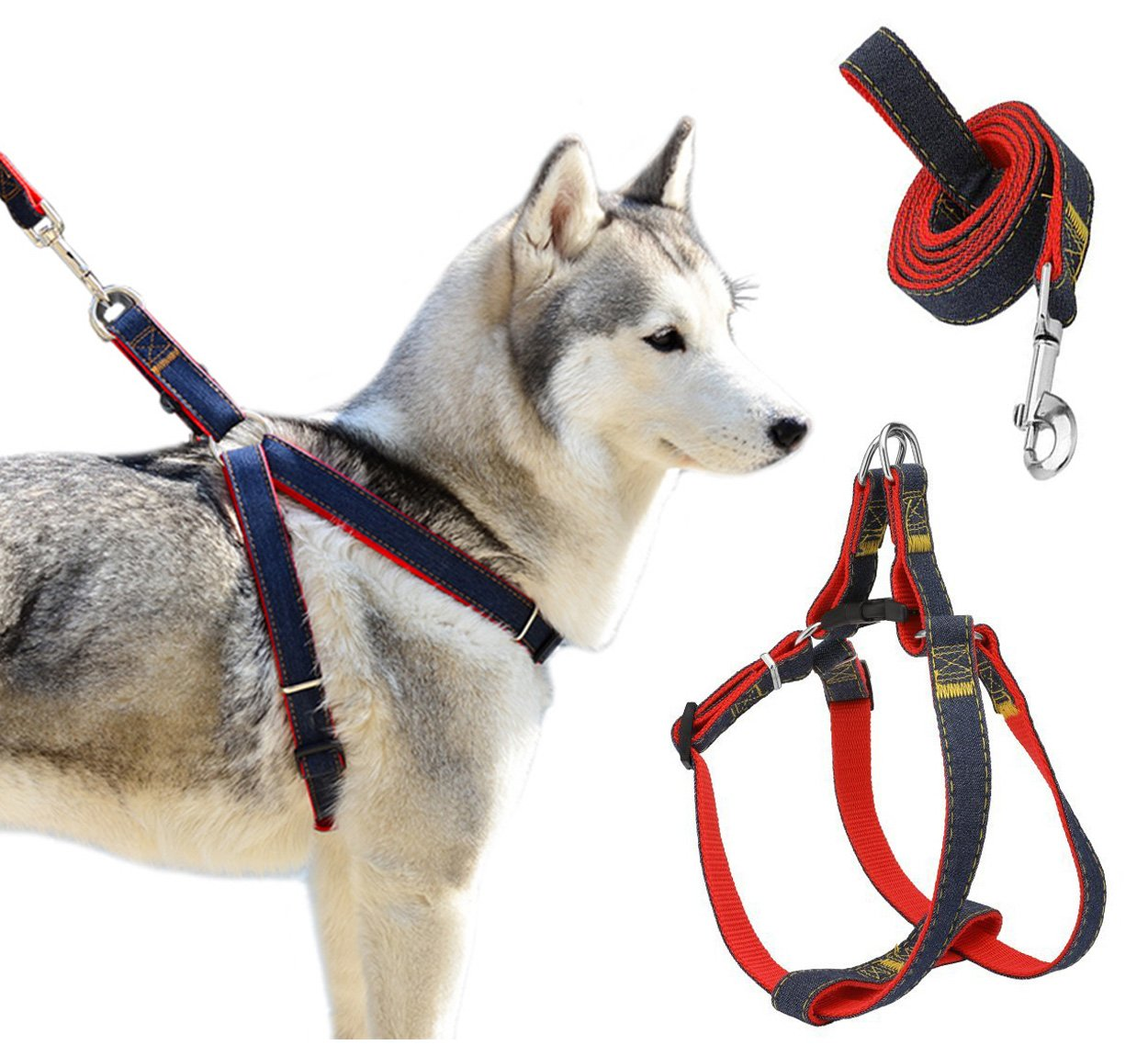 Red L 2.5cm red L 2.5cm Triumilynn Dog Leash Harness Set, Adjustable & Durable Leash & Heavy Duty Dog Cat Leashes for Small Medium Pet for Walking