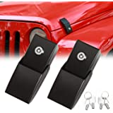 RT-TCZ Stainless Steel Hood Latches Hood Lock Catch Latches Kit for Jeep Wrangler JK JL 2007-2021 Unlimited (Black)