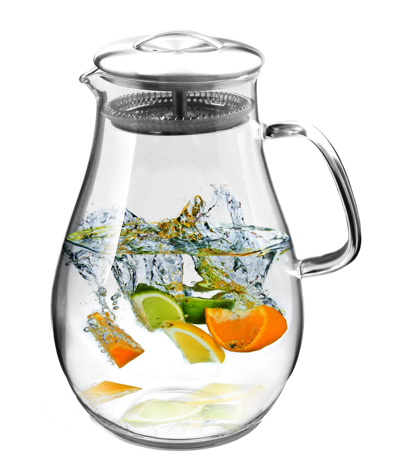 hiware glass pitcher with stainless steel lid 64 oz water carafe with handle g ebay. Black Bedroom Furniture Sets. Home Design Ideas