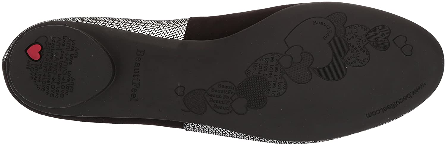 BeautiFeel Women's Amada Ballet Flat B075XYZBFD 365 M EU (5.5 US)|Pewter Pixel Print Suede Combination