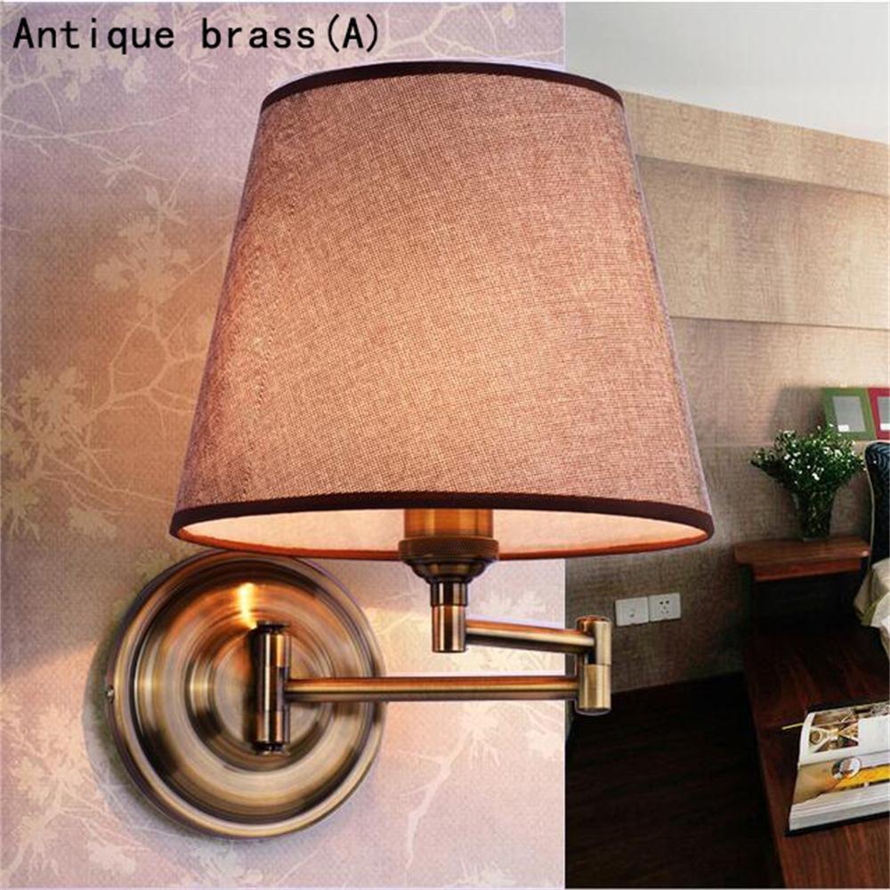 Jack Mall American-style-Wandleuchte Nachttischlampe Schlafzimmer Tuch Rustic Nordic Rocker Wandleuchten (Farbe   Antique Brass(A))
