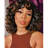 KEAT Short Curly Afro Wigs for Black Women 14'' Black Brown Highlights Kinky Curly Wavy Wigs with Bangs Cute Fashion Natural