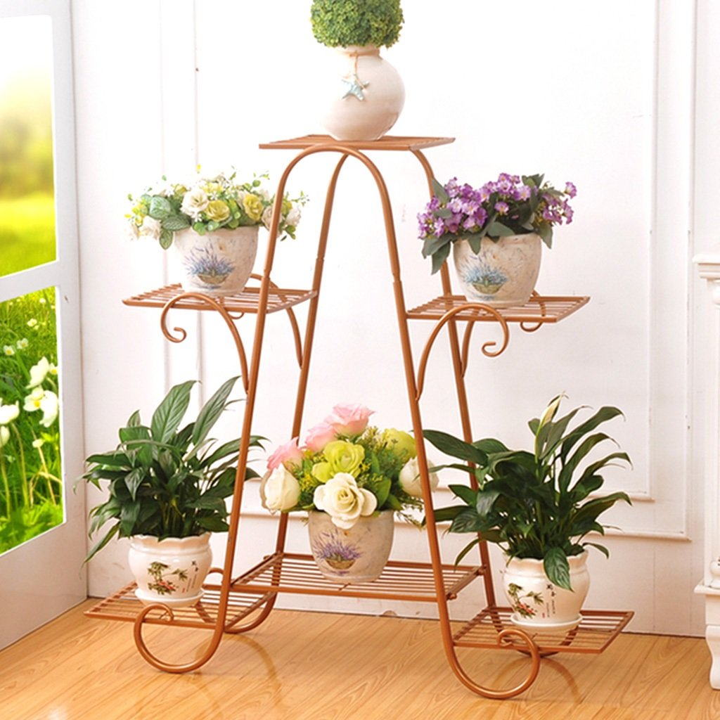 gold-69.5cm22.5cm64.5cm Flower racks - Flower Pot Rack 4-Tiered Scroll Classic Plant Stand Metal Garden Patio Standing Plant Display Shelf (color   gold-69.5cm22.5cm64.5cm)