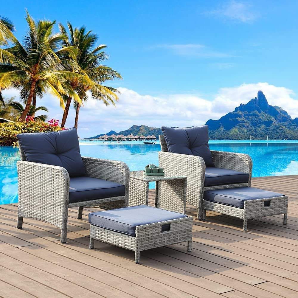 Anbuy 5 Pieces Patio Furniture Set Outdoor Conversation with Ottoman Rattan Wicker Chair Seating Sofa with Glass Table Footstools for Backyard Porch Garden Poolside Balcony Grey Rattan Blue Cushions