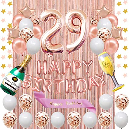 Banner 29th Birthday Decorations For Her Pink and Rose Gold Theme Balloons