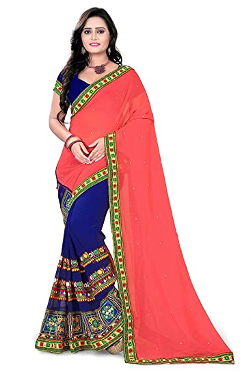 e7cd5fc8999388 Maruti Patola Silk Saree with blue and Light Pink colour  Amazon.in   Clothing   Accessories