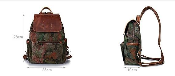 Leinwand Rucksack Vintage Camouflage Doppelschulterbeutel Männer Frauen Outdoor Reisetasche Wasserdichte Daypack,ArmyGreen-OneSize Addora