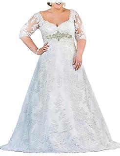 f5007125a87a1 Mulanbridal Women's V-Neck Plus Size Wedding Dresses for Bride Lace  Applique Bridal Gowns