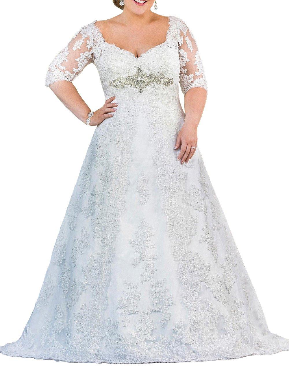 Mulanbridal Women's V-Neck Plus Size Wedding Dresses For Bride Lace Applique Bridal Gowns White 28