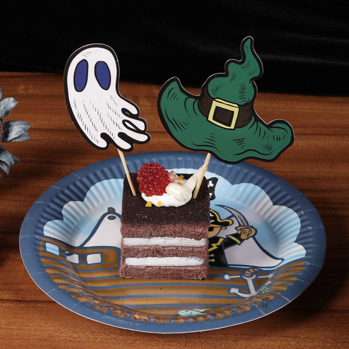 Amosfun 48 piezas de decoración para tarta de Halloween con diseño ...