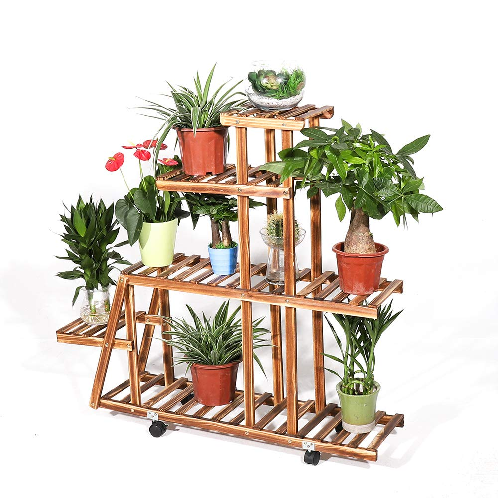 6 Tier Wooden Pedestal Plant Stand Plant Flower Display Flowerpot Storage Rack for Indoor Outdoor Garden