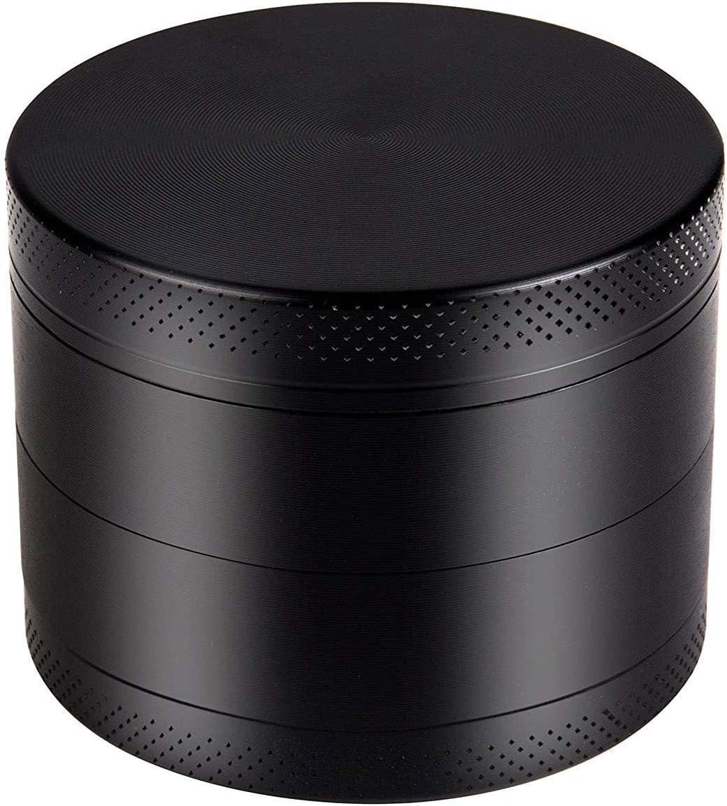color negro Pulverizador de aluminio de cuatro capas con tamiz superior magn/ético para hierbas secas y tabaco Grinder