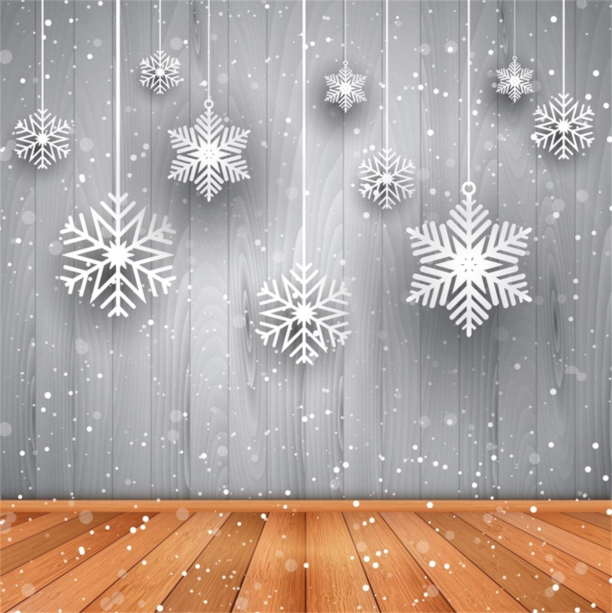 YEELE 10x10ft Christmas Photography Backdrop 3D Snowflake Brown Wood Floor Background Kids Adults Portrait Xmas Holiday Pictures Photo Booth Photoshoot Props Digital Wallpaper