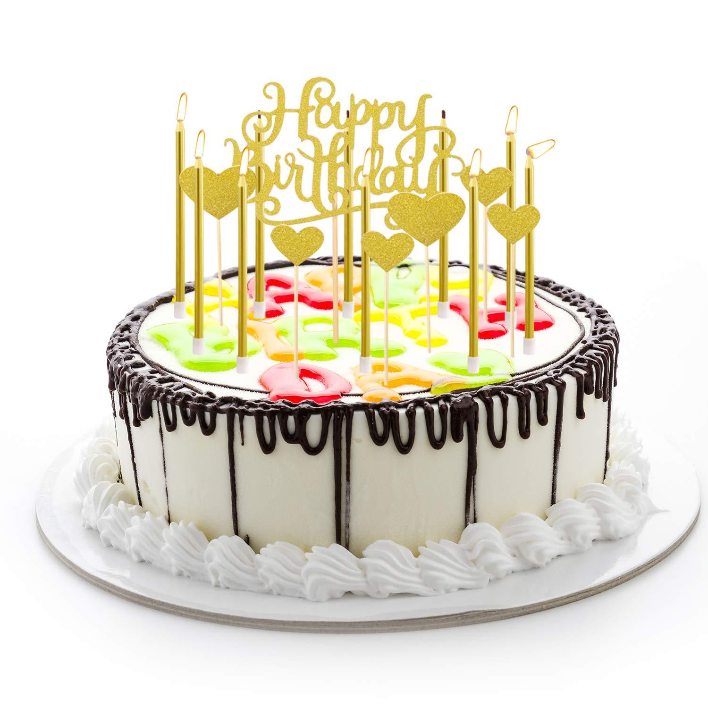 24 Stück Geburtstagskerzen Geburtstags Kuchen Kerzen Dünne