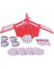Bigjigs Toys BJ630 Colorful Polka Dot Tea Set & Basket-Role and Play Sets
