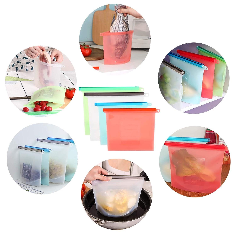 GWHOLE 4 Bolsas de Silicona para Congelar Alimentos Bolsas Reutilizables Preservaci/ón de Alimento Herm/ética para Fruta Sopa Verduras Carne Leche